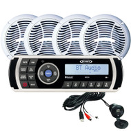 Jensen CPM200 AM\/FM\/USB Waterproof Bluetooth Stereo Pack w\/4 Speakers, MS2A Radio  Aux Input [CPM200 MS2A]