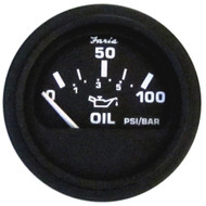 "Faria Heavy-Duty Black 2"" Oil Pressure Gauge (100 PSI) [GP0801]"