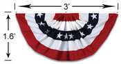 3 Foot x18 inch Stars and Stripes Pleated Full Mini Fan