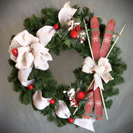 White Burlap and Skis Wreath