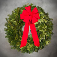 Mixed Greens Wreath with a Bow