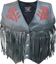 Ladies Red Rose Braided Fringe Vest
