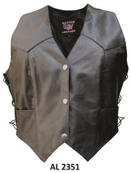 Allstate Leather AL2351 Ladies Vest  w/side-laces