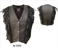Allstate Leather AL2353 Ladies braided fringe vest