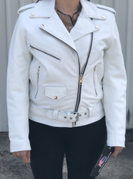 Ladies Classic Motorcycle Jacket in White Cowhide Leather