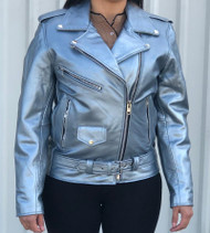 Ladies Classic Motorcycle Jacket in Silver Cowhide Leather