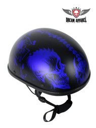 Matte Blue Novelty Motorcycle Helmet With Horned Skeletons