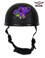 Womens Flat Black Novelty Motorcycle Helmet With Purple Rose Design