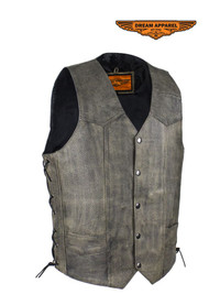 Men's Native American Distressed Brown Leather Vest