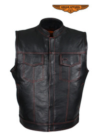 Men's Black Naked Cowhide Leather Motorcycle Vest W/ Red Stitching