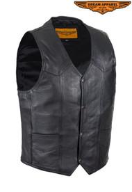 Dream Apparel Mens Plain Black Leather Vest