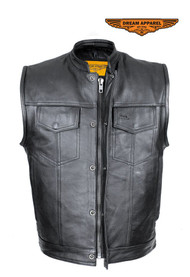 Dream Apparel Mens Leather Vest W/ Concealed Gun Pockets