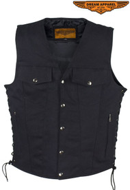 Dream Apparel Men's Black Denim Motorcycle Club Vest