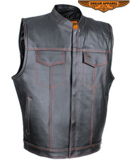 Men's Split Leather Motorcycle Vest W/ Red Stitching