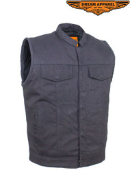 Men's Black Denim Motorcycle Vest With Zipper/ Button Snap Front