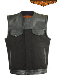 Dream Apparel Motorcycle Leather and Canvas Club Vest