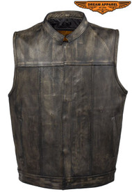 Dream Apparel Mens Distressed Brown Leather Motorcycle Club Vest