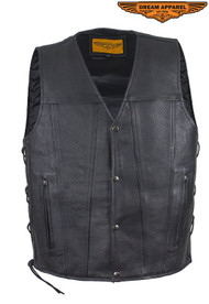 Dream Apparel Mens Leather Vest With Concealed Gun Pockets