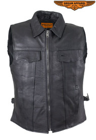 Men's Motorcycle Club Leather Vest With Fold Collar & Hidden Snaps
