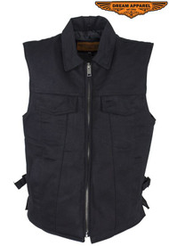 Men's Black Denim Motorcycle Club Vest with Folded Collar & Hidden Snaps