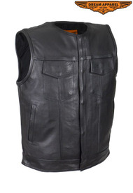 Men's Leather Motorcycle Club Vest With Zipper & No Collar