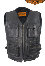 Dream Apparel Mens Leather Cargo Vest