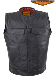 Men's No Collar Leather Motorcycle Club Vest with Red Liner