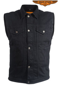 Dream Apparel Mens Black Denim Gun Pocket Vest