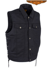 Dream Apparel Mens Plain Denim Vest With 5 Snaps