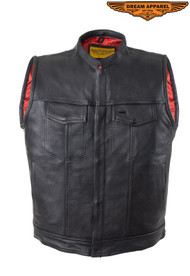 Men's Motorcycle Leather Club Vest With Red Liner