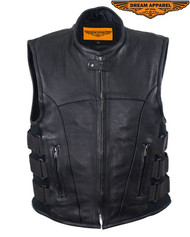 Men's Motorcycle Leather Vest With Neoprene Sides