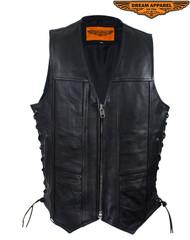 Dream Apparel Mens Plain Leather Vest With Zipper Front