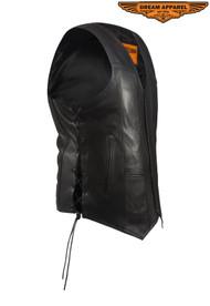 Men's Plain Split Leather Motorcycle Vest w/Gun pockets