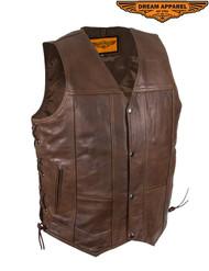 Dream Apparel Men's 10 Pocket Brown Leather Vest