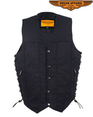 Men's Black Denim Motorcycle Vest with Gun Pocket