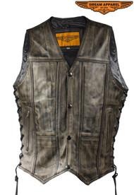 Dream Apparel Men's Distressed Brown Motorcycle Vest W/ 10 Pockets