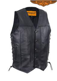Dream Apparel Men's Plain Leather Vest With Gun Pocket