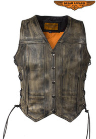 Womens Distressed Brown Naked Cowhide Leather Vest