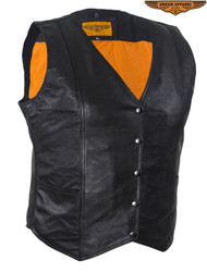 Dream Apparel Women's Classic Motorcycle Vest With Snaps