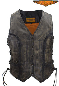 Dream Apparel Womens Distressed Brown Cowhide Leather  Vest