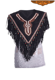 Dream Apparel Women's Leather Poncho With Beads