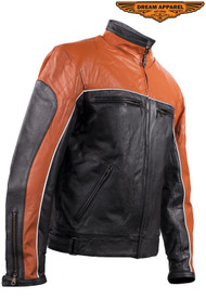 Dream Apparel Mens Orange Racer Jacket