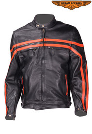 Dream Apparel Mens  Leather Racer Jacket w/ Zippered Cuffs