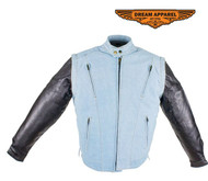 Men's Denim-like Leather Racer Jacket W/ Removable Sleeves