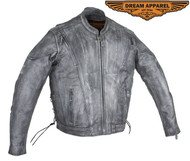 Dream Apparel Men's Gray Racer Jacket W/ Side Laces