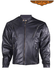 Dream Apparel Mens MJ714-SS  Leather Racer Style Jacket