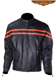 Dream Apparel Mens MJ779-ORG-RC Racer Jacket W/ Orange Racing Stripes