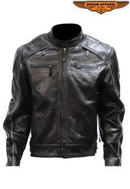 Dream Apparel Mens MJ814-11 Leather Jacket W/ Racer Collar