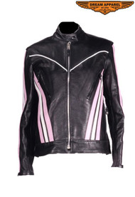 Dream Apparel Women's Black & Pink Leather Racer Jacket
