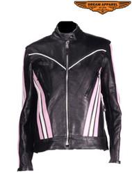 Dream Apparel Women's Black & Pink Leather Racer Jacket